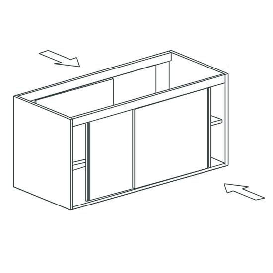 Arbeitsschrank, beidseitig bedienbar, mit Schiebetüren, 900x700 mm
