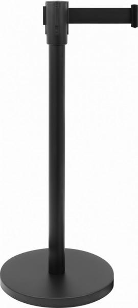 Absperrpfosten schwarz mit schwarzem Gurtband 1,8 m lang
