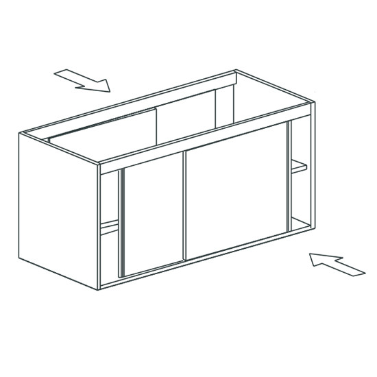 Arbeitsschrank, beidseitig bedienbar, mit Schiebetüren, 1500x700 mm