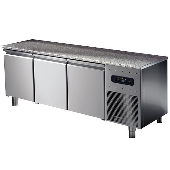Bäckereitiefkühltisch 3-türig 600x400 mm mit Granitarbeitsplatte