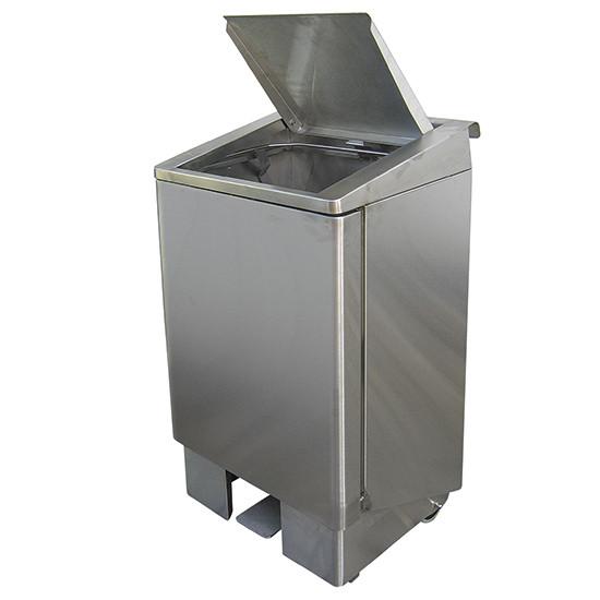 fahrbahrer Abfallbehälter mit Pedal, Edelstahl, 60 Liter