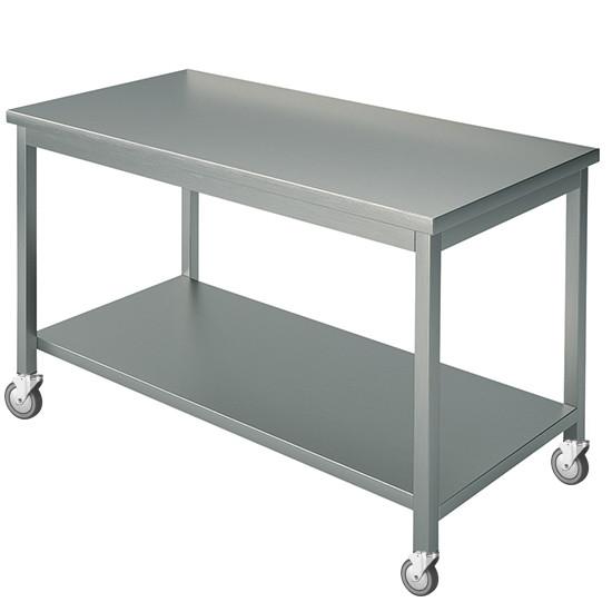 Arbeitstisch, mit 4 Aufkantungen, mit Zwischenboden, auf Rädern, 2500x800 mm