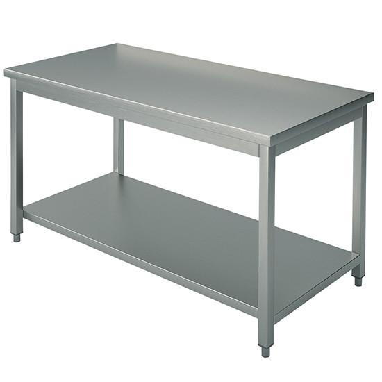 Arbeitstisch, auf Beinen 40x40 mm, mit Zwischenboden, ohne Aufkantung, 3400x1200 mm