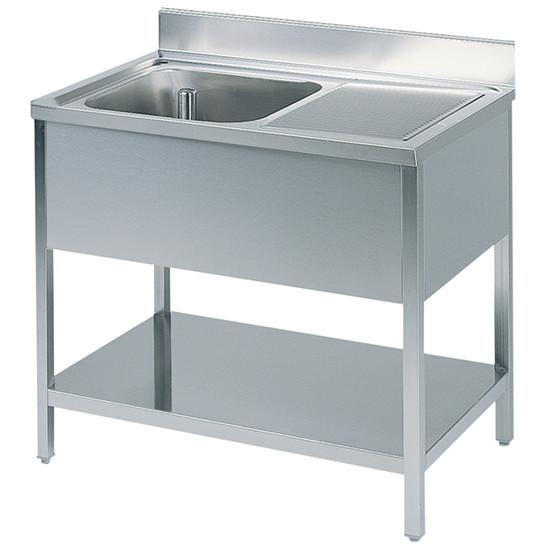 Arbeitstisch mit Becken links, mit Zwischenboden, mit Aufkantung, 1300x700 mm