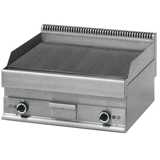 Elektro-Grillplatte, Tischmodell, verchromt, gerillt
