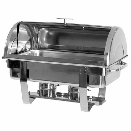 "Chafing Dish, GN 1/1, H=65 mm, ""Rolltop""-Deckel, 2 Brenner"
