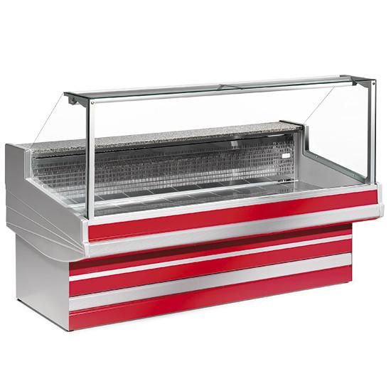 Fleischkühltheke mit gerader Scheibe, statische Kühlung, B=4000 mm