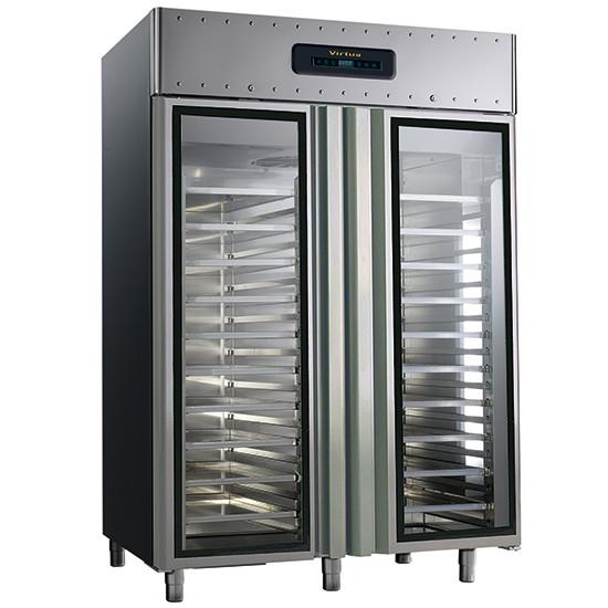 Bäckereikühlschrank 600x400 mm 1400 Liter aus Edelstahl mit Glastüren, -2 °C/+8 °C