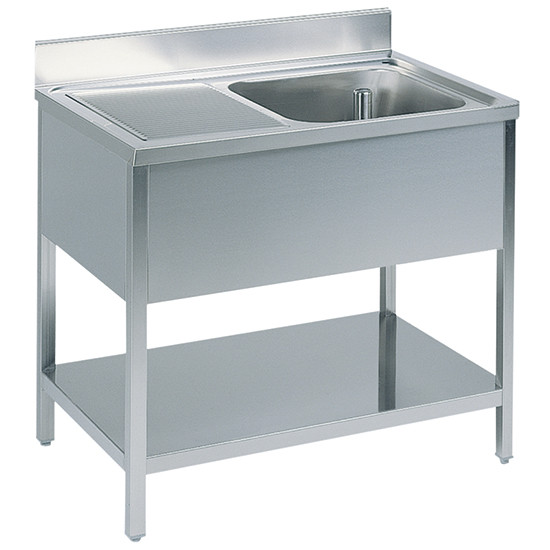 Arbeitstisch mit Becken rechts, mit Zwischenboden, mit Aufkantung, 1900x600 mm