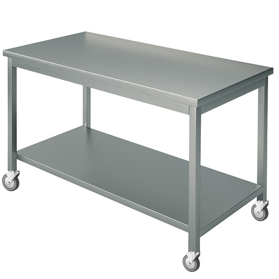 Arbeitstisch, mit 4 Aufkantungen, mit Zwischenboden, auf Rädern, 2250x900 mm