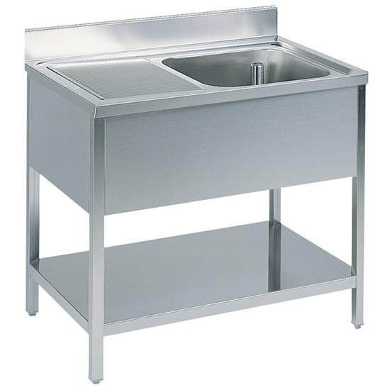 Arbeitstisch mit Becken rechts, mit Zwischenboden, mit Aufkantung, 1600x600 mm