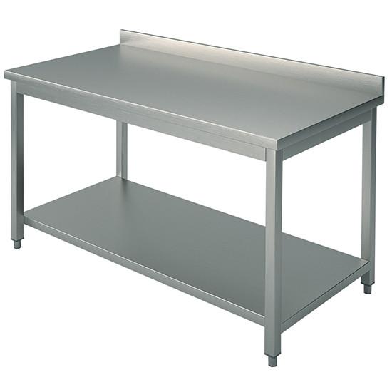 Arbeitstisch, auf Beinen 40x40 mm, mit Zwischenboden, mit Aufkantung, 1800x800 mm